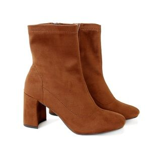 leaf-cognac stretch ankle boots booties